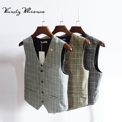 2018 New Men's Vest Male Fashion Brand Banquet Men Classic Vest Checked Gilet Costume Homme Slim Fit Vest Cotton Waistcoat