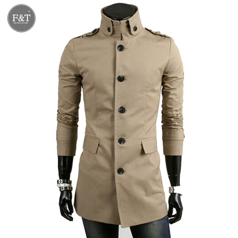 [Asian Size] Men Winter Classic Trench Coat Single-Breasted  Collar Men's Boutique Slim Fit Casual jacket Cotton Men Blazer Hot