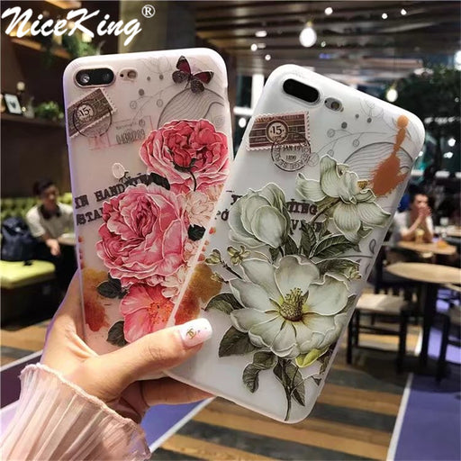 sFor iPhone 6 Case 6S 7 8 Plus Case Silicone NiceKing Cute Cartoon Matte TPU Back Cover Relief Phone Cases For iPhone 8 7 6 6S