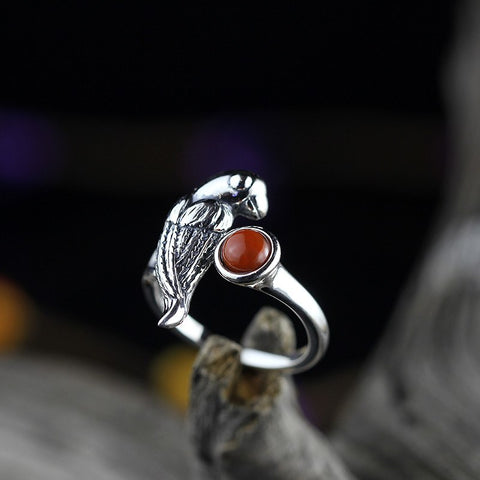 silver products, men and women of the same paragraph, fashion aesthetic, stay Meng parrot, south red face, S925 ring