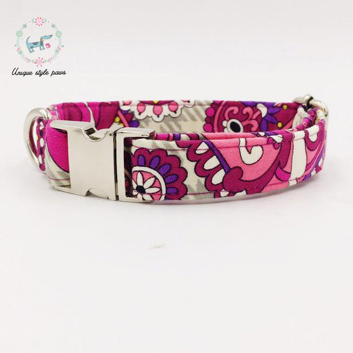 The Pink Flower Dog Collar With Bow Tie Dog Or Cat Trainning Collar