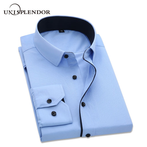 unisplendor Men Dress Shirts 2018 New Man Fashion Long Sleeve Slim Fit High Quality Solid Casual Business Shirt 4XL YN630