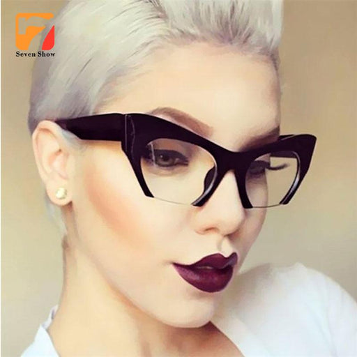 women Small Half Frame Cat Eye Glasses Clear lenses Ladie Brand Optical prescription Glasses Frames myopia Eyewear Computer