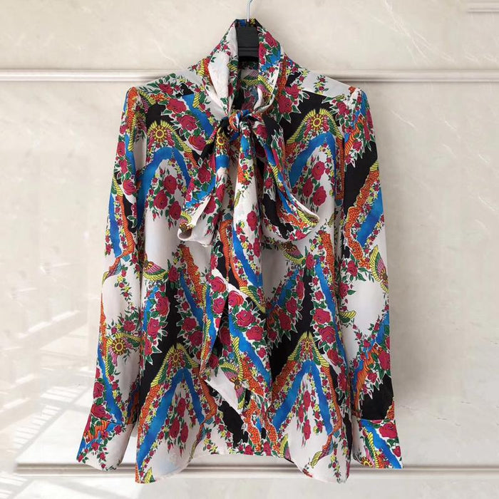 720e1c28ae812 womens tops and blouses 2018 spring long sleeve blouse high quality silk  print blouse with bow