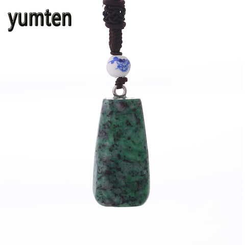 yumten nature stone pendant gemstone long necklace for women Statement jewellery charm opal turquoise ladies gifts Body Jewelry