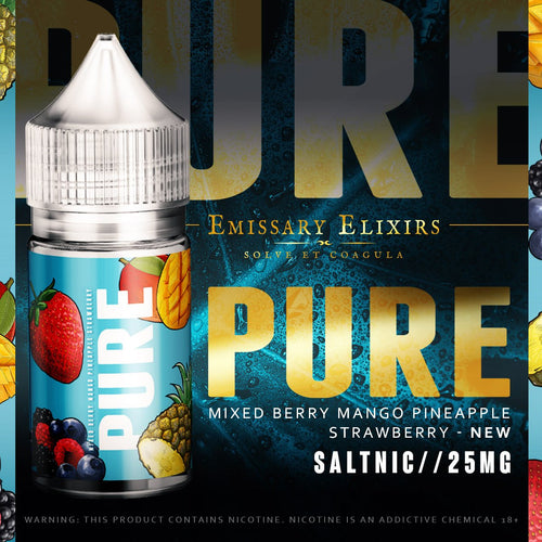 Emissary Elixirs - Pure Blue Nic Salt, Mixed berry Mango Pineapple Strawberry 30ml 12mg