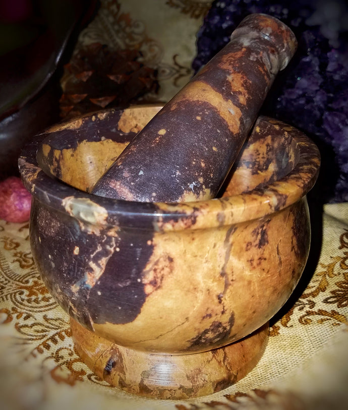 Stone Mortar And Pestle (Natural)