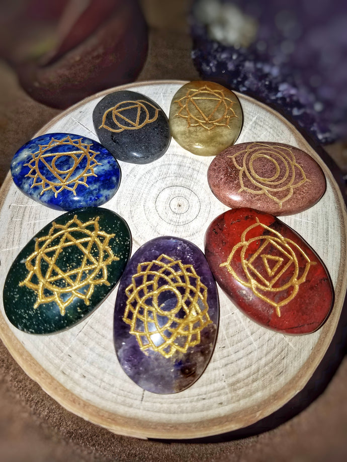 Engraved Chakra Palm Stones (Set Of 7)