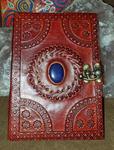 Hand Crafted 5 X 7 Leather Journal With Crystal