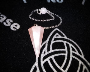 Six Sided Rose Quartz Pendulum