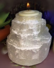 White Selenite Tealight Tower Candle Holder