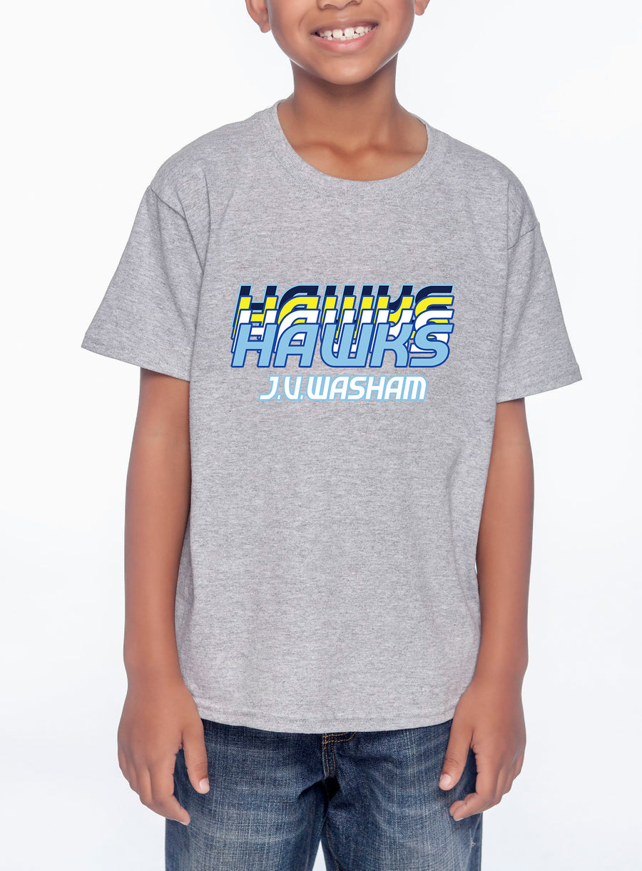 Retro Hawks Youth Lightweight Tee Heather Grey