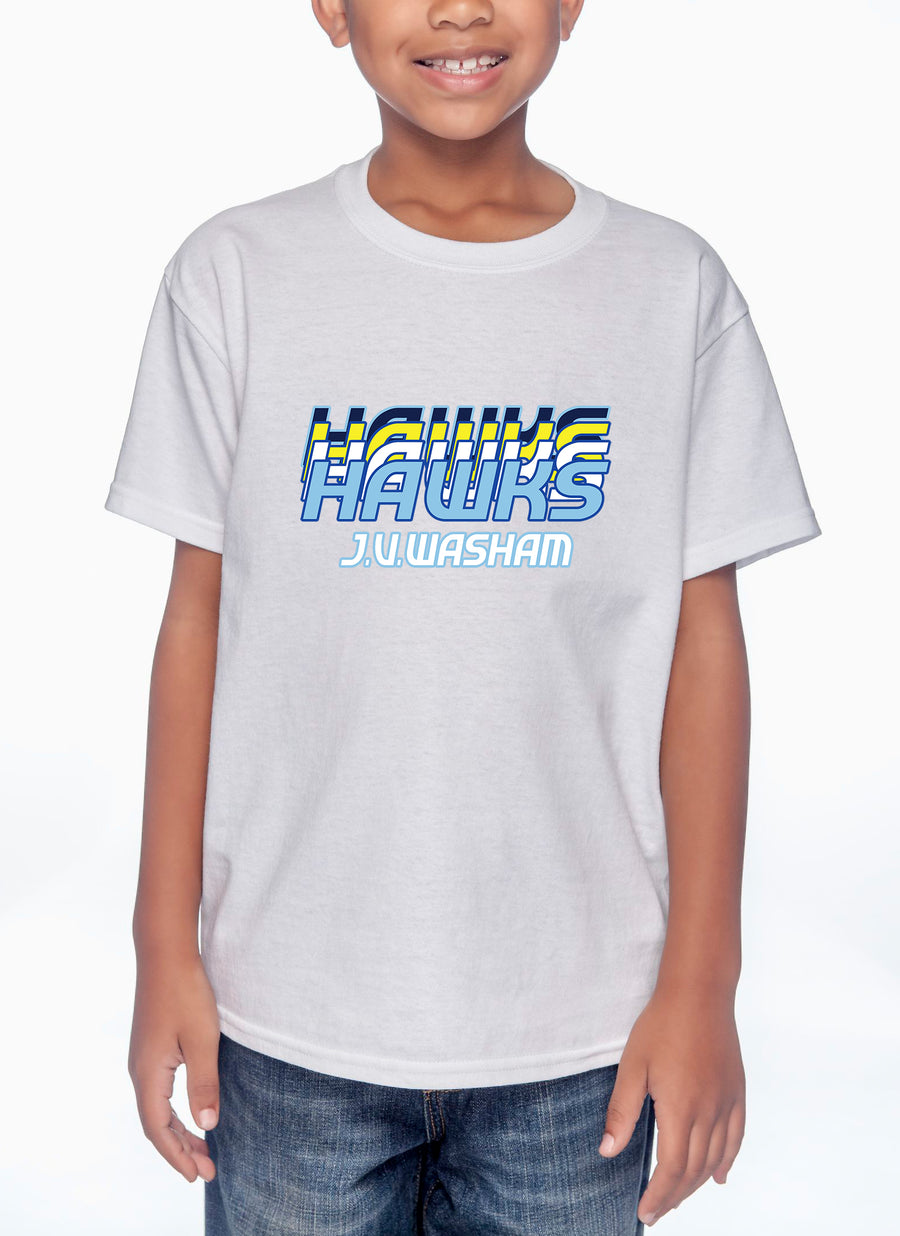 Retro Hawks Youth Lightweight Tee White