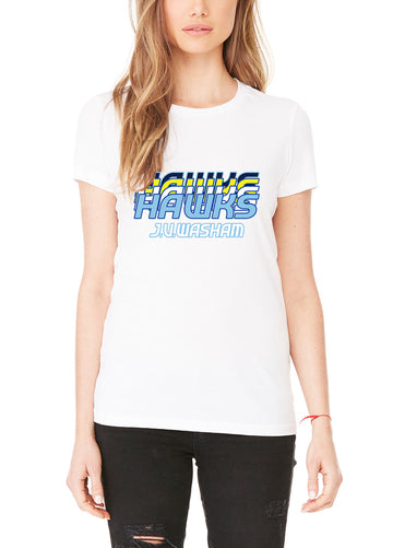Retro Hawk Women's Lightweight Crew Neck Tee White