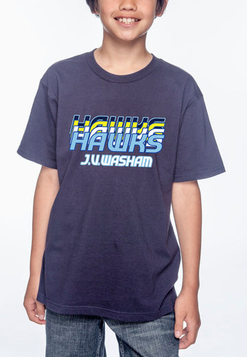 Retro Hawks Youth Lightweight Tee Navy