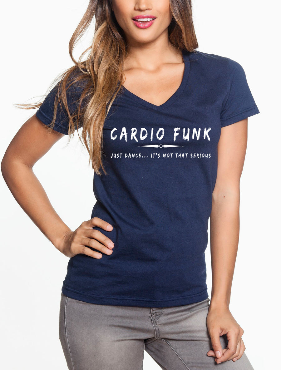 Cardio funk Women's Lightweight V-Neck Tee navy