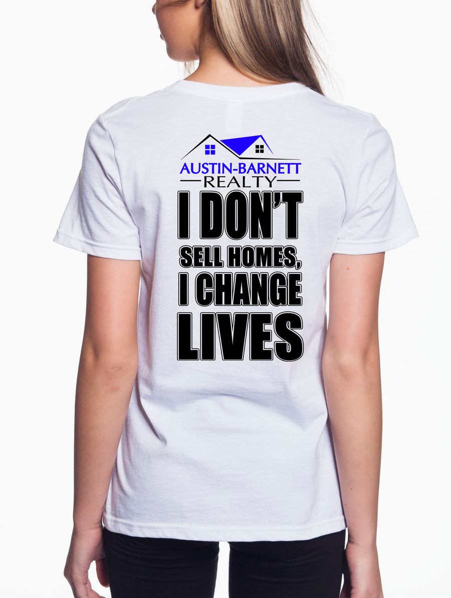 Change Lives Women's Lightweight V-Neck Tee White