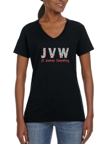 JVW Floral 1 - Women's Lightweight V-Neck Tee Black