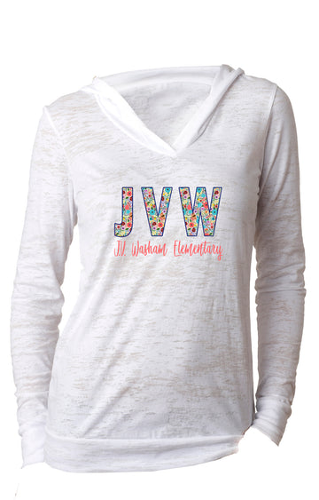 JVW Floral 1 WOMENS BURNOUT HOODY White