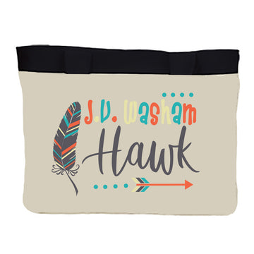 Medium Zippered tote J.V. Washam Hawk Feather
