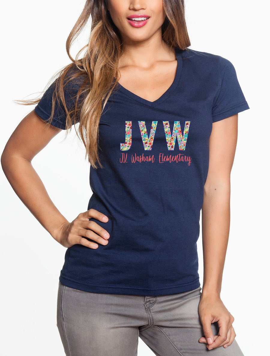 JVW Floral 1 - Women's Lightweight V-Neck Tee Navy