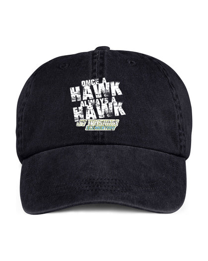 Low profile pigment dyed black hat Always a Hawk