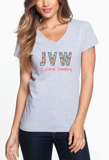 JVW Floral 1 - Women's Lightweight V-Neck Tee Grey