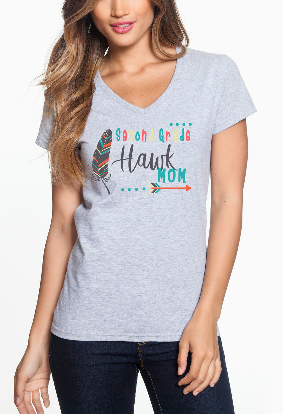 Second Grade Mom - Women's Lightweight V-Neck Tee Grey