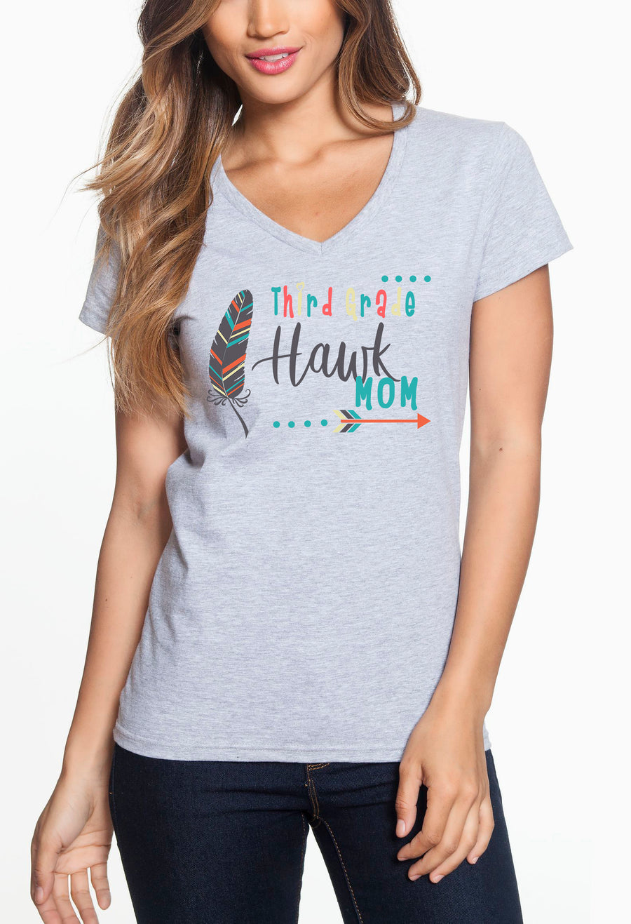 Third Grade Mom - Women's Lightweight V-Neck Tee Grey