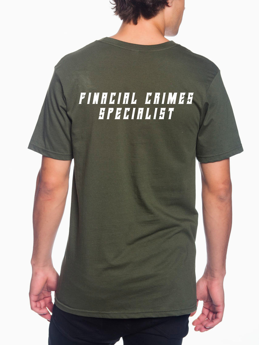 FCS Left Corner White Adult Lightweight Tee Military Green