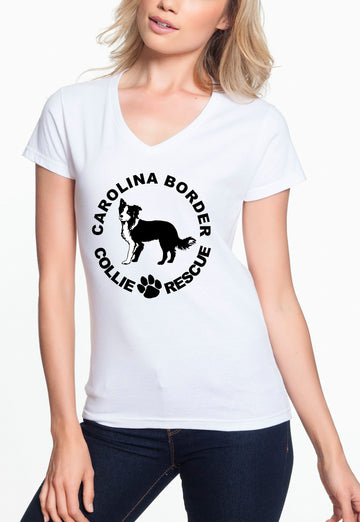 CBCR Logo - Women's Lightweight V-Neck Tee White