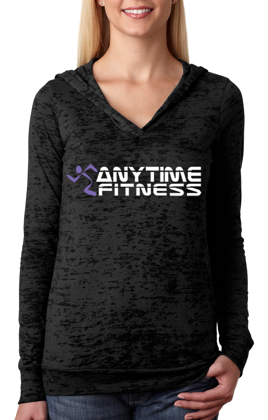 Anytime Fitness WOMENS BURNOUT HOODY Black