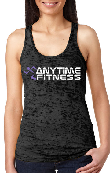 Anytime Fitness women's burnout racer back tank black