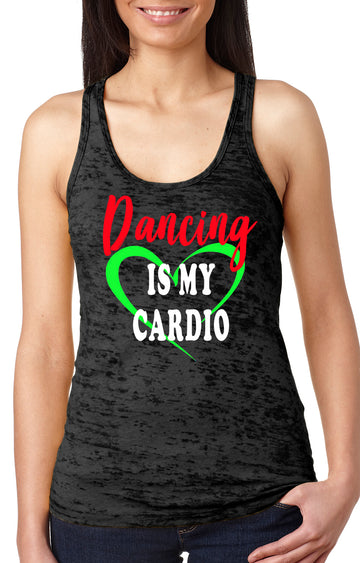 Dancing is my cardio women's burnout racer back tank black