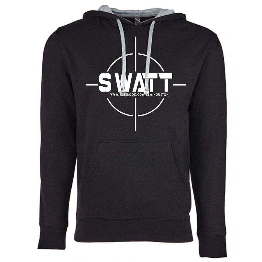 SWATT White Next Level French Terry Hoodie Black and Grey