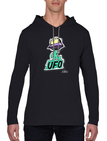 UFO Long Sleeve hooded T-shirt Black