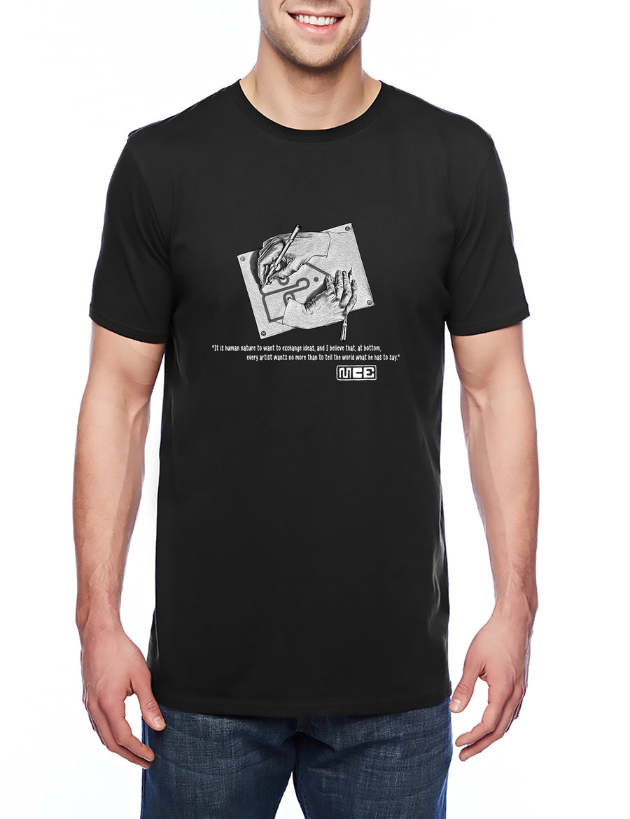 M.C. Escher Tribute Adult Lightweight Tee Black