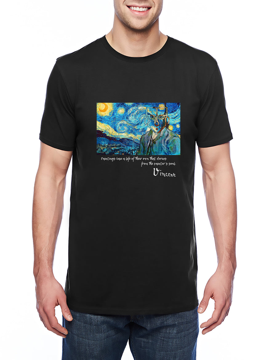 Van Gogh Tribute Adult Lightweight Tee Black