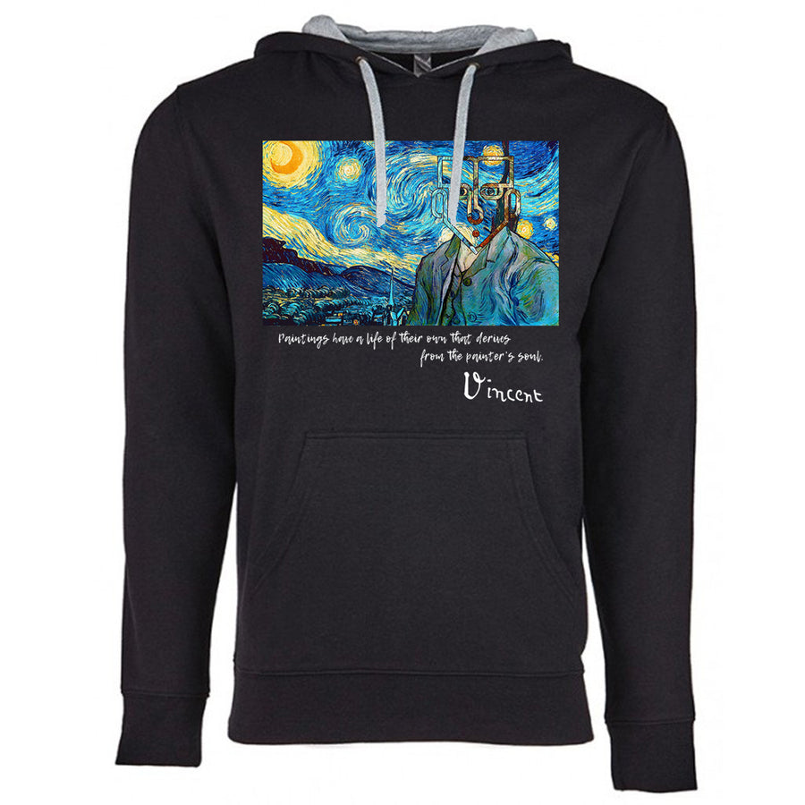 Van Gogh Next Level French Terry Hoodie Black and grey