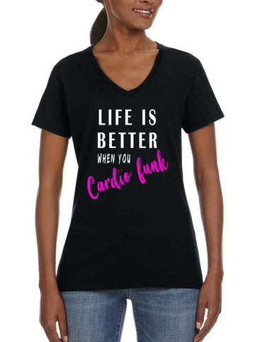 life is better Women's Lightweight V-Neck Tee black