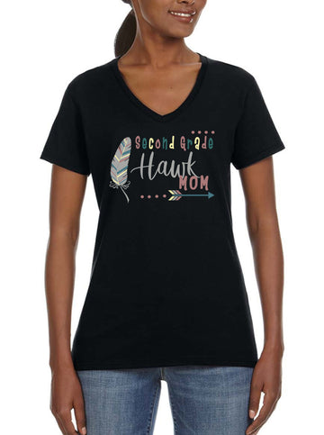 Second grade Mom - Women's Lightweight V-Neck Tee Black
