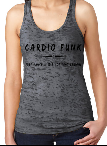 Women's burnout racer back tank grey Cardio Funk