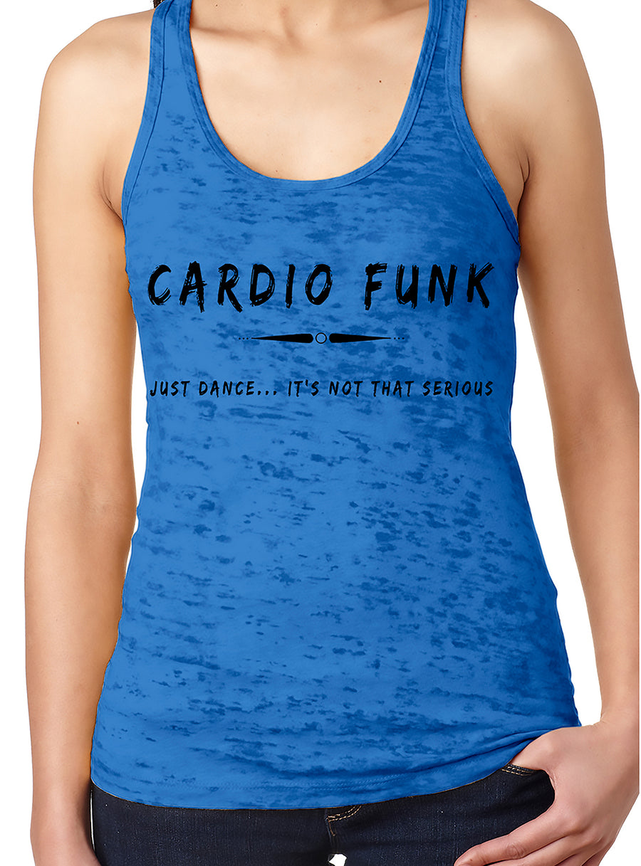 Women's burnout racer back tank Royal Blue Cardio Funk