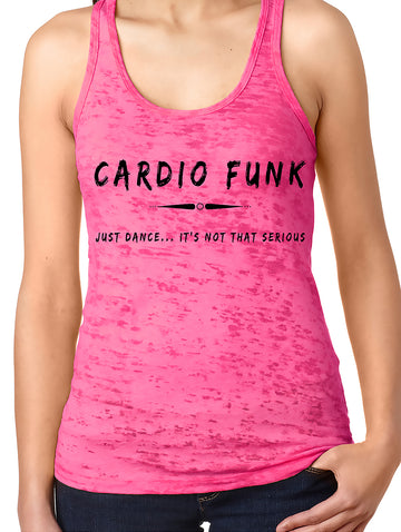 Women's burnout racer back tank Shocking Pink Cardio Funk
