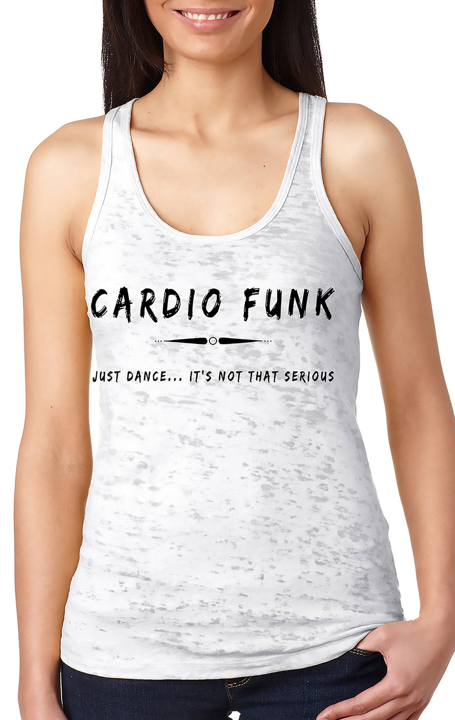 Women's burnout racer back tank White Cardio Funk