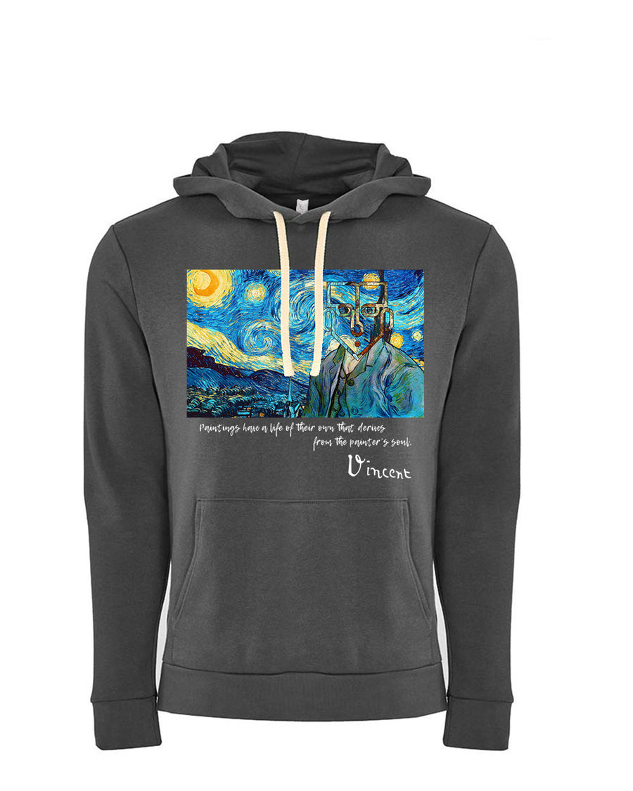 Van Gogh Tribute Next Level Fleece Pullover Hoodie dark Grey