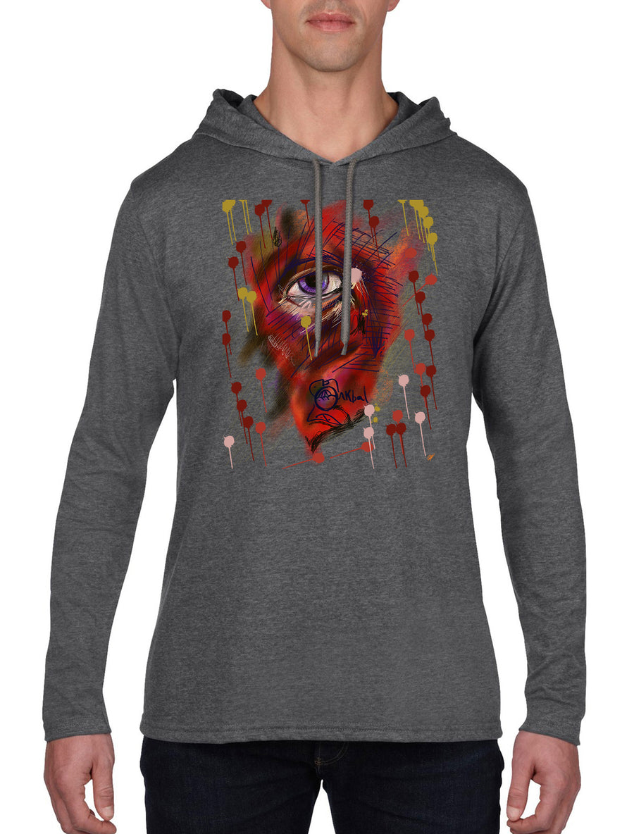 Eye Long Sleeve hooded T-shirt Dark Heather Grey