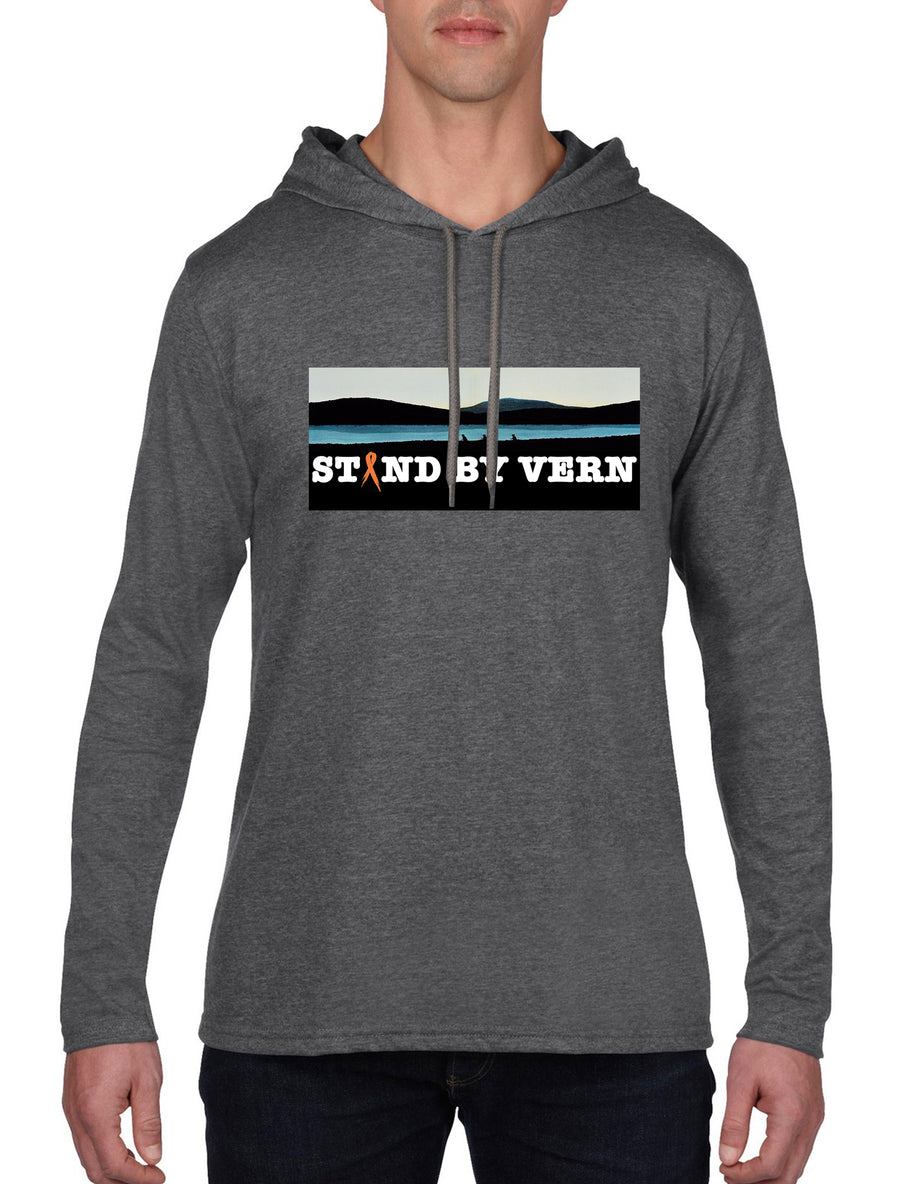 Stand By Vern Unisex Long sleeve hooded T-shirt Dark Grey