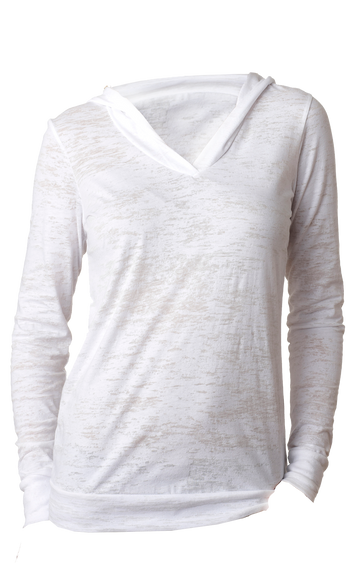 #6521 WOMENS BURNOUT HOODY White