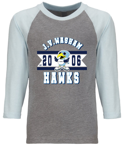 EST 2006 Light Blue/ Gray  YOUTH CVC 3/4 RAGLAN